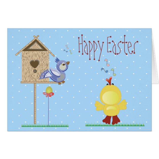 Singing Easter Chick & Bird Card