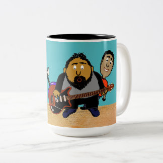 Singing Electric Guitar Player Photo Bomb Cartoon Two-Tone Coffee Mug