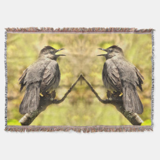 Singing Gray Catbirds Throw Blanket