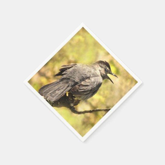 Singing Grey Catbird Paper Napkins