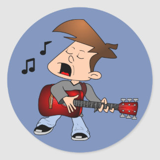Singing Guitar Player Classic Round Sticker