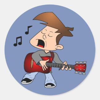Singing Guitar Player Round Sticker