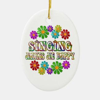 Singing Happy Ceramic Oval Ornament