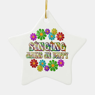 Singing Happy Ceramic Star Ornament