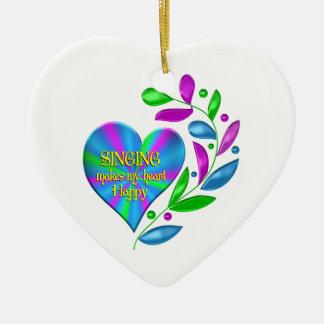 Singing Happy Heart Ceramic Heart Ornament
