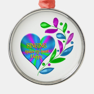 Singing Happy Heart Silver-Colored Round Ornament