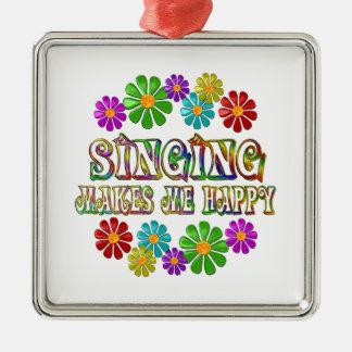 Singing Happy Silver-Colored Square Ornament
