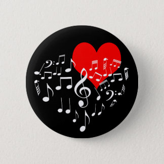 Singing Heart one-of-a-kind romantic black 2 Inch Round Button