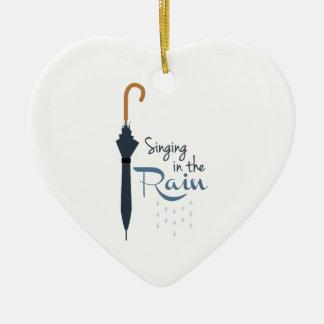 Singing in the Rain Ceramic Heart Ornament