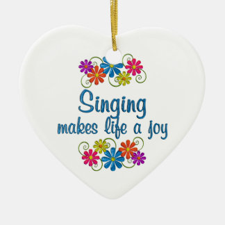 Singing Joy Ceramic Heart Ornament