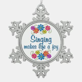 Singing Joy Pewter Snowflake Ornament