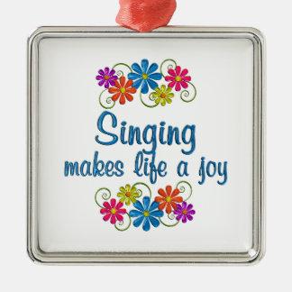 Singing Joy Silver-Colored Square Ornament