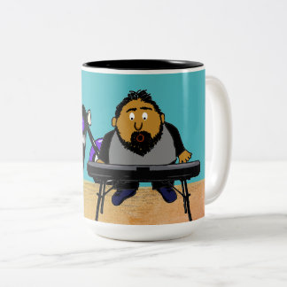 Singing Keyboard Player Comic Two-Tone Coffee Mug