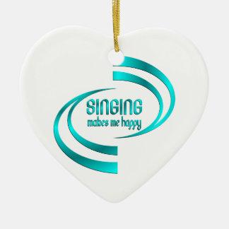 Singing Makes Me Happy Ceramic Heart Ornament