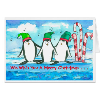Singing Penguins Merry Christmas Card