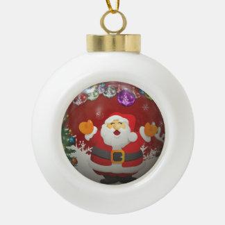 Singing Santa Claus Ceramic Ball Christmas Ornament