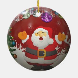 Singing Santa Claus Ceramic Ornament