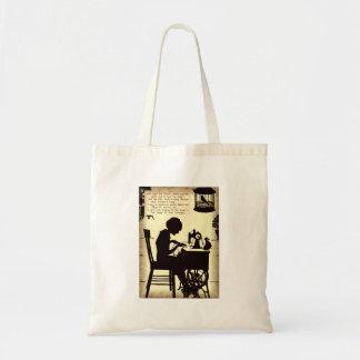 Singing Sewing Lady Vintage Fairy Poem Budget Tote Bag