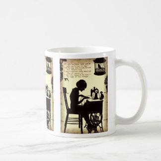 Singing Sewing Lady Vintage Fairy Poem Classic White Coffee Mug