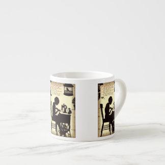 Singing Sewing Lady Vintage Fairy Poem Espresso Mug