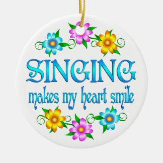 Singing Smiles Round Ceramic Ornament