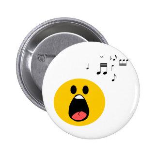 Singing smiley 2 inch round button