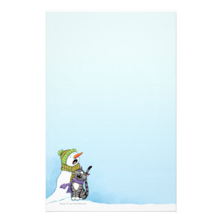 Singing Snowman and Cat Christmas Stationery