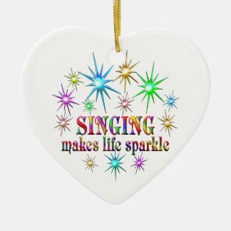Singing Sparkles Ceramic Heart Ornament