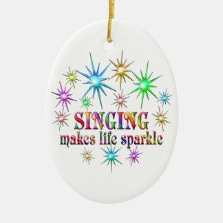 Singing Sparkles Ceramic Oval Ornament