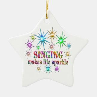 Singing Sparkles Ceramic Star Ornament