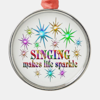 Singing Sparkles Silver-Colored Round Ornament