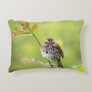 Singing Sparrow bird Accent Pillow