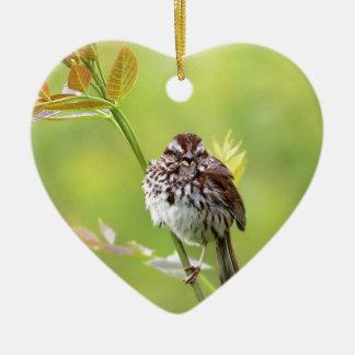 Singing Sparrow Ceramic Heart Ornament