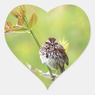 Singing Sparrow Heart Sticker