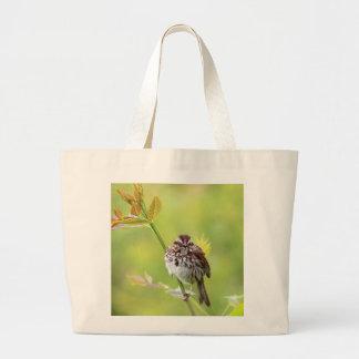Singing Sparrow Large Tote Bag