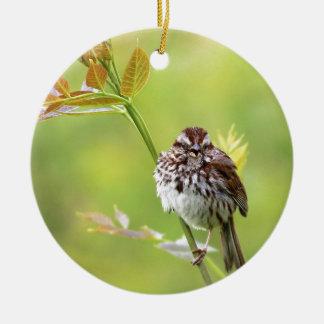Singing Sparrow Round Ceramic Ornament