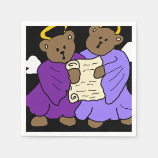 Singing Teddy Bear Angels in Purple Robes Paper Napkin