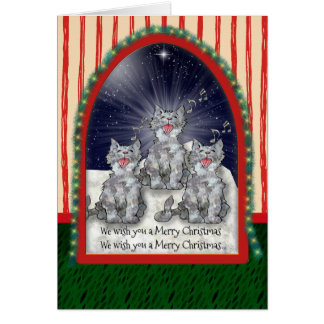 Singing Watercolor Christmas Cats Personalized Card