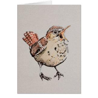 Singing Wren Illustration Card