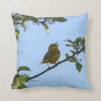 Singing Yellow Warbler Throw Pillow