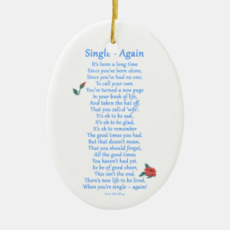 Single Again Ceramic Ornament