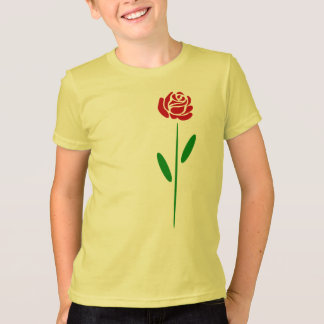 Single Art Deco Red Rose Green Leaves and Stem T-Shirt