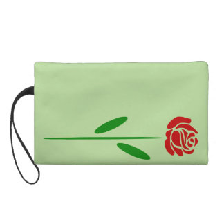 Single Art Deco Red Rose Green Leaves and Stem Wristlet Clutches