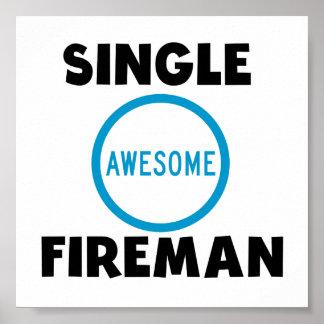 Single Awesome Fireman Poster