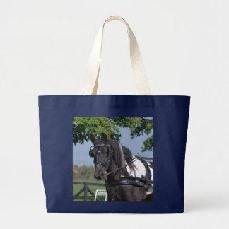 single black and white horse jumbo tote bag