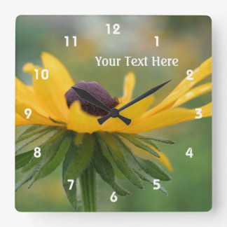 Single Black Eyed Susan Daisy Flower Square Wall Clock