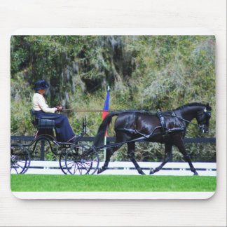 single black horse carriage driving mouse pad