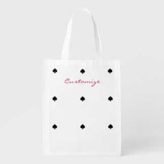 single black spade pattern Thunder_Cove Reusable Grocery Bag
