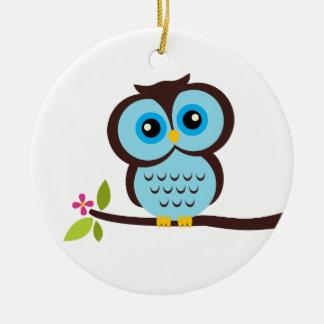 Single Blue Owl Round Ceramic Ornament