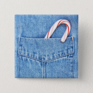 Single Candy Cane in Denim Pocket 2 Inch Square Button